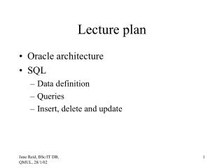 Lecture plan