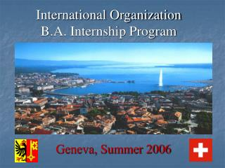 International Organization  B.A. Internship Program