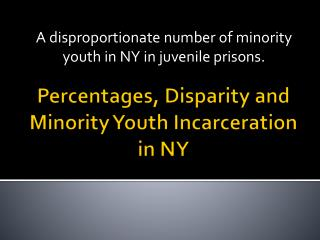 Percentages, Disparity and Minority  Y outh Incarceration in NY
