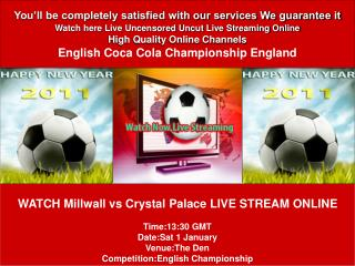 Millwall vs Crystal Palace LIVE STREAM ONLINE TV SHOW
