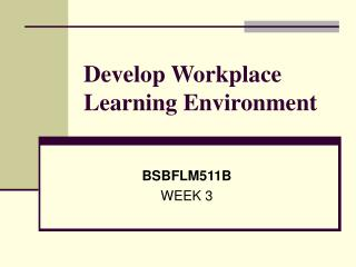 Develop Workplace Learning Environment