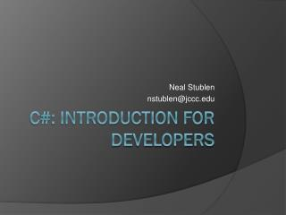 C#: Introduction for Developers