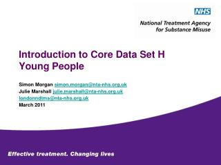 Introduction to Core Data Set H Young People