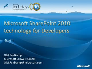 Microsoft SharePoint 2010 technology for Developers
