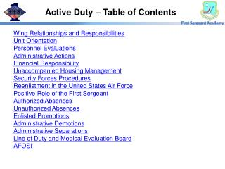 Active Duty – Table of Contents