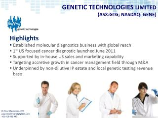 GENETIC TECHNOLOGIES  LIMITED  (ASX:GTG; NASDAQ: GENE)