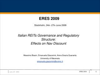 Italian REITs Governance and Regulatory Structure:  Effects on Nav Discount