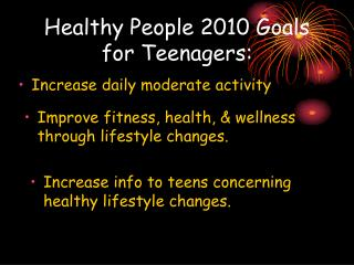 Healthy People 2010 Goals for Teenagers: