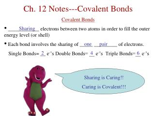 Ch. 12  Notes---Covalent Bonds