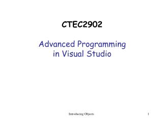 CTEC2902 Advanced Programming  in Visual Studio
