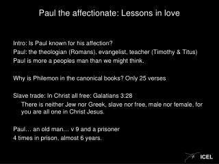 Paul the affectionate: Lessons in love