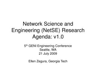 Network Science and Engineering (NetSE) Research Agenda: v1.0