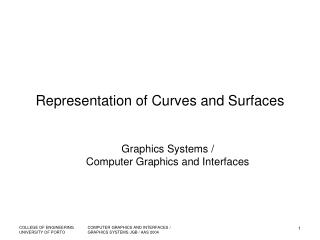 Representation of Curves and Surfaces