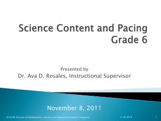 Science Content and Pacing  Grade 6