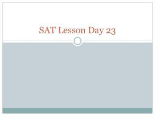 SAT Lesson Day  23