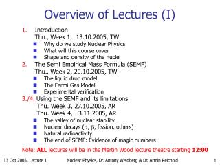 Overview of Lectures (I)