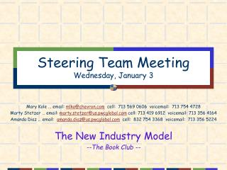 Steering Team Meeting Wednesday, January 3