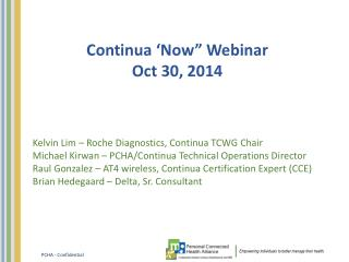 "Continua 'Now"" Webinar Oct 30, 2014"