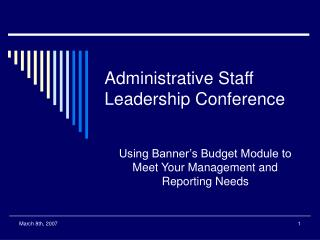 Administrative Staff Leadership Conference