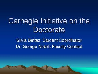 Carnegie Initiative on the Doctorate