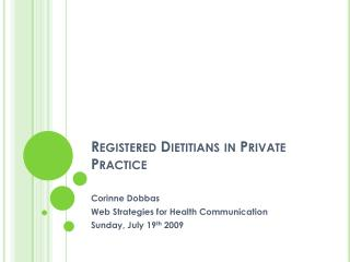 Registered Dietitians in Private Practice