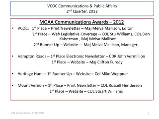 MOAA Communications Awards – 2012