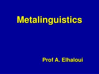 Metalinguistics