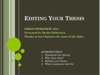 Editing Your Thesis