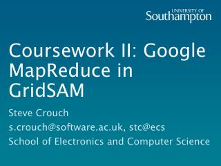 Coursework II: Google MapReduce in GridSAM