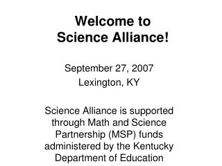 Welcome to Science Alliance!