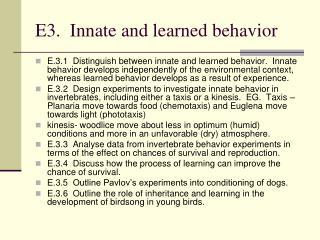 E3. Innate and learned behavior