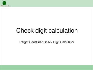 Check digit calculation
