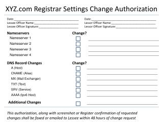 XYZ  Registrar Settings Change Authorization