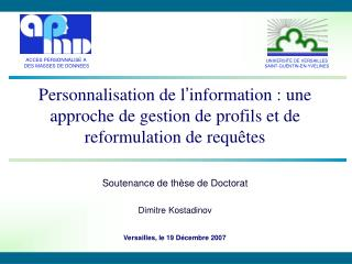 Ppt Soutenance De Thèse De Doctorat Dimitre Kostadinov