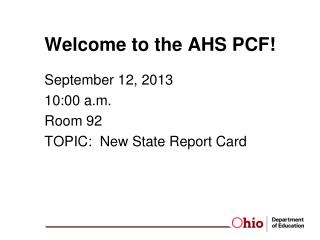 Welcome to the AHS PCF!