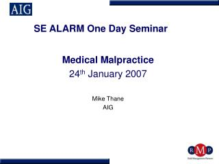 SE ALARM One Day Seminar