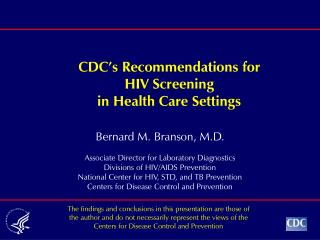 CDC's Recommendations for HIV Screening in Health Care Settings