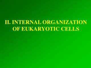 II. INTERNAL ORGANIZATION OF EUKARYOTIC CELLS