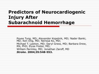 Predictors of Neurocardiogenic Injury After Subarachnoid Hemorrhage