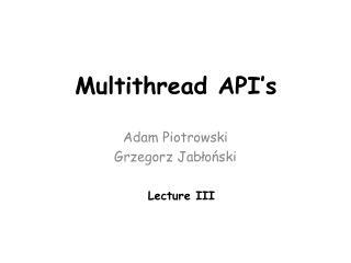 Multithread API's