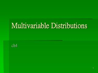 Multivariable Distributions