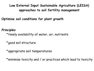 Low External Input Sustainable Agriculture (LEISA) approaches to soil fertility management