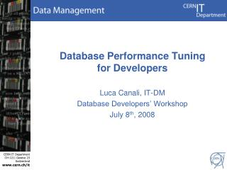 Database Performance Tuning for Developers