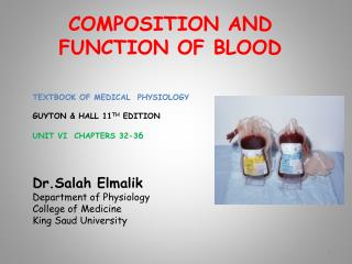 COMPOSITION AND FUNCTION OF BLOOD
