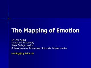 The Mapping of Emotion