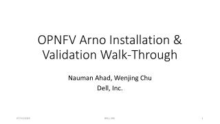 OPNFV Arno Installation & Validation Walk-Through