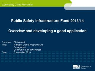 Public Safety Infrastructure Fund 2013/14