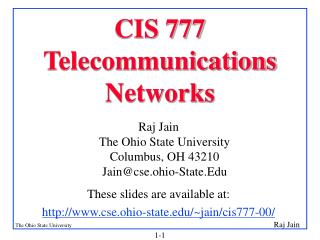 CIS 777 Telecommunications Networks