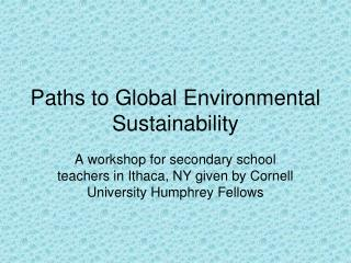Paths to Global Environmental Sustainability