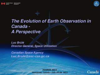 The Evolution of Earth Observation in Canada -   A Perspective